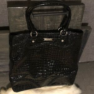 COLE HAAN Croc Embossed Patent Leather Bag